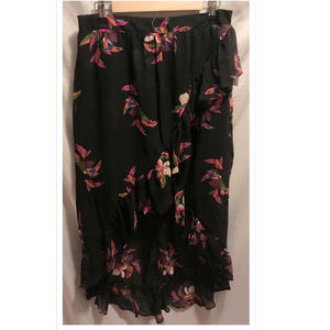 Large High Low Skirt A New Day Black Floral NWoT